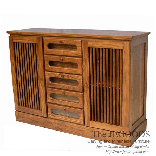Modern Furniture Jepara buffet karimunjawa 2 pintu 5 laci mebel jati jepara minimalis modern