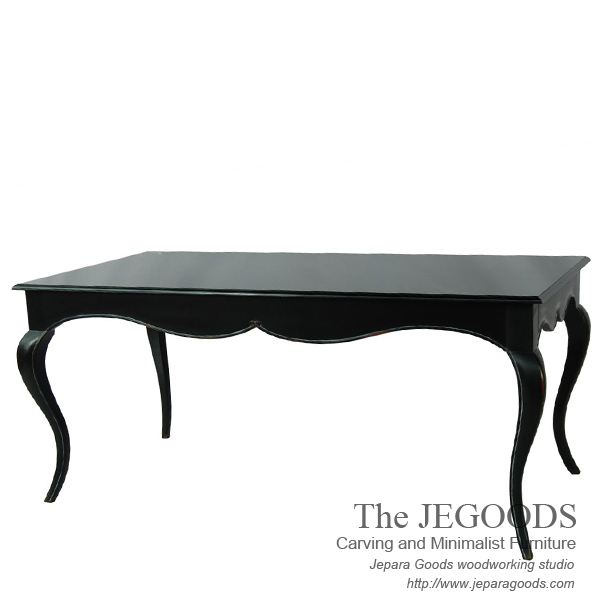 carving french dining table,mahogany antique jepara goods, french  shabbychic furniture jepara,antique - Monica French Dining Table - Jepara Antique Mahogany Carving Painted