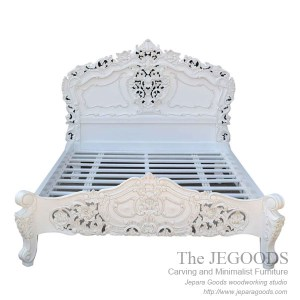 Bed Carving French Rococo white painted furniture jepara,bed rococo,carving rococo furniture jepara,tempat tidur ukir jepara,model tempat tidur rococo,bed white painted furniture,furniture ukir jepara cat putih duco,model mebel klasik cat duco jepara,shabby chic jepara vintage,carving furniture bed set