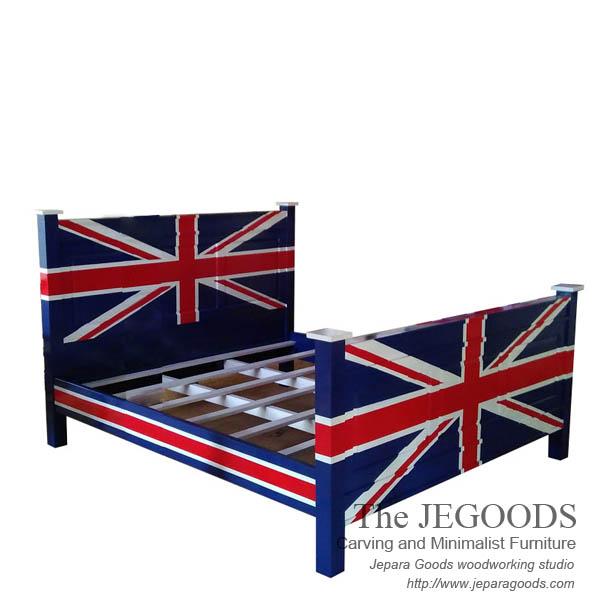 Jepara Antique Mahogany Union Jack Flag Painted Mebel Bendera Inggris,union  Jack Furniture Jepara,