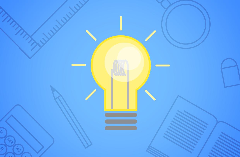 A light bulb indicating a new idea