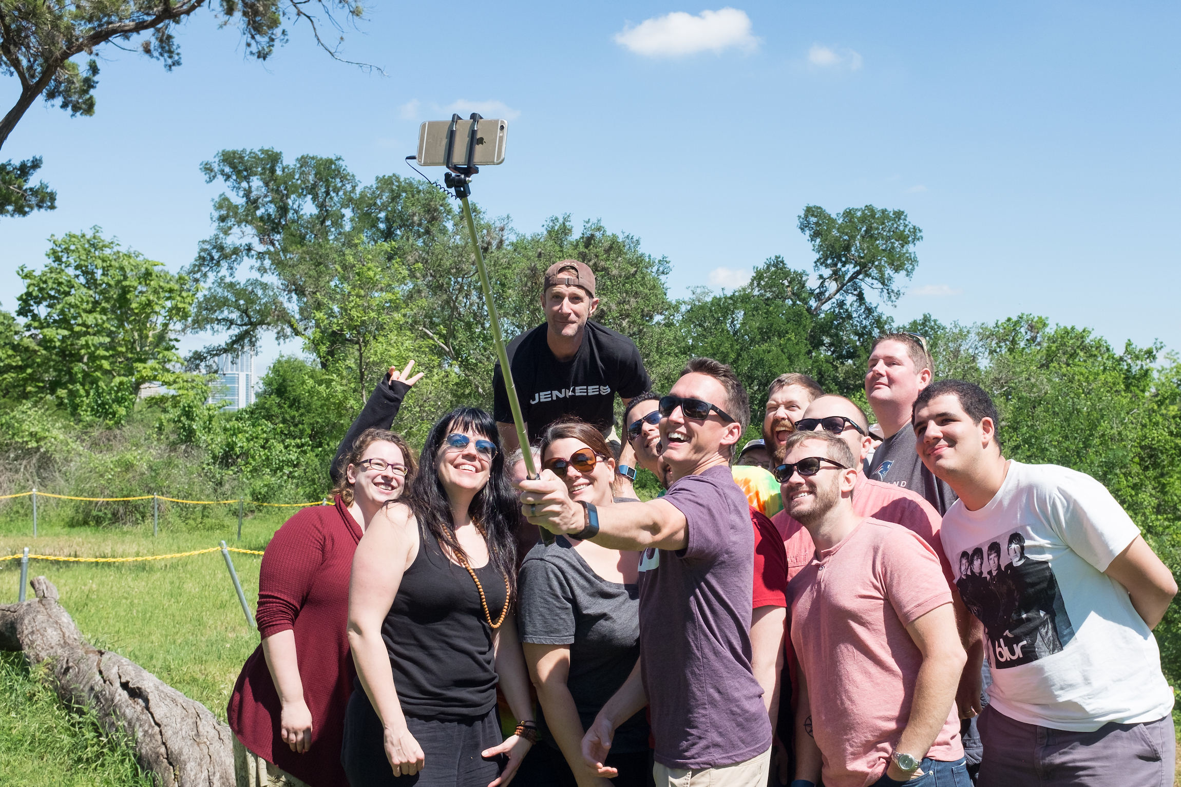 Two Happiness teams take a selfie after our barbecue in Austin