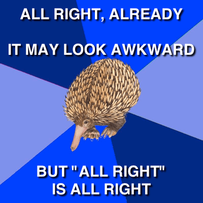 "English Error Echidna: All Right, Already; It May Look Awkward, But ""All Right"" is All Right"