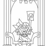 Nasty little Veruca Salt waves her golden ticket. (Coloring page.)