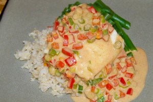 Broiled Halibut with Thai Coconut Curry Sauce