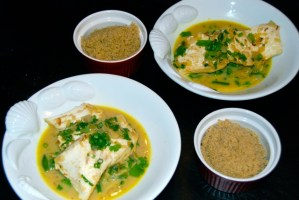 Thai-Style Halibut with Coconut-Curry Broth