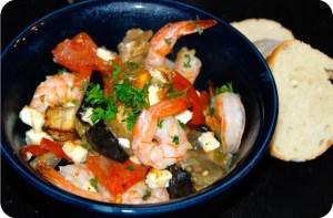 The Secret Recipe Club: Roasted Tomatoes and Eggplant with Shrimp and Feta