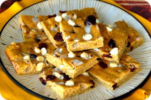 Pumpkin & Pilots {Cranberry White Chocolate Pumpkin Bars}