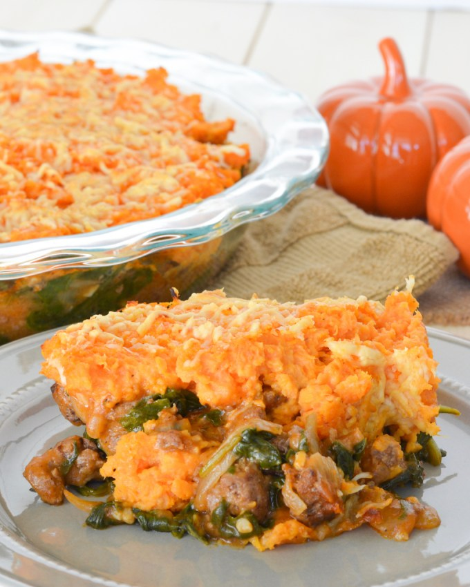 This Autumn Shepherd's Pie uses spinach in place of the traditional peas, and is topped with mashed sweet potatoes-- a fall favorite! It's perfect comfort food packed with nutrients!