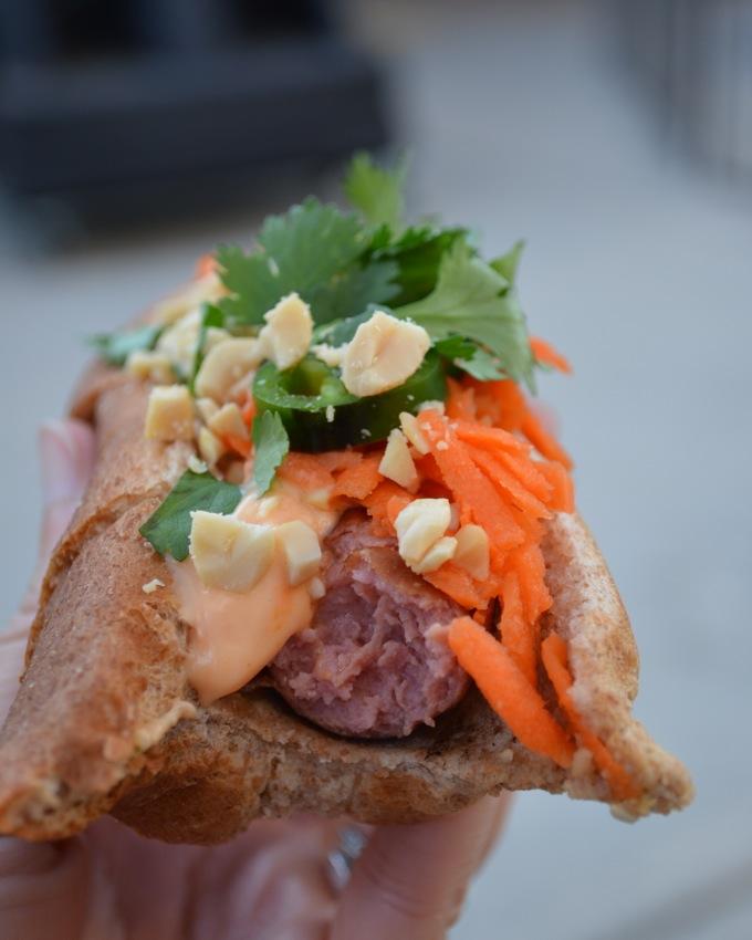 Banh Mi Hot Dogs with Sriracha Mayo