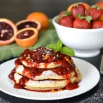 Blood Orange Ricotta Pancakes with Strawberry Orange Sauce