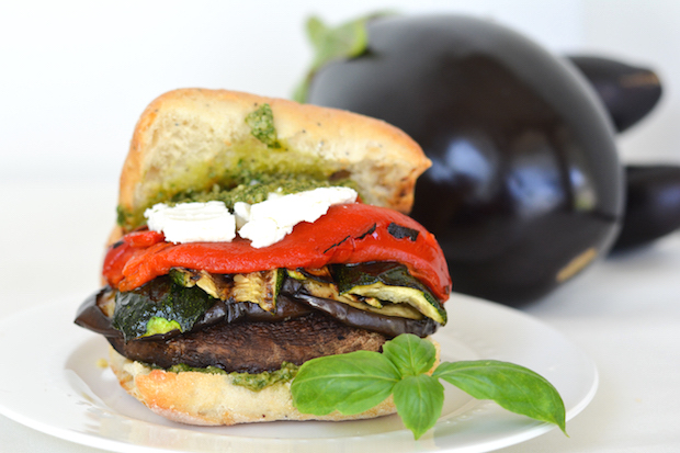 Grilled Portobello And Roasted Red Pepper Sandwich With ...