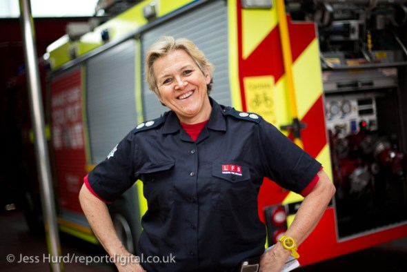 Sian Griffiths, White Watch Manager. Retiring after 30 years and one of the first LFB female firefighters. Paddington Fire Station. London. © Jess Hurd/reportdigital.co.uk Tel: 01789-262151/07831-121483   info@reportdigital.co.uk   NUJ recommended terms & conditions apply. Moral rights asserted under Copyright Designs & Patents Act 1988. Credit is required. No part of this photo to be stored, reproduced, manipulated or transmitted by any means without permission.