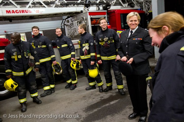 Last role call for Sian Griffiths, White Watch Manager. Retiring after 30 years and one of the first LFB female firefighters. Paddington Fire Station. London. © Jess Hurd/reportdigital.co.uk Tel: 01789-262151/07831-121483   info@reportdigital.co.uk   NUJ recommended terms & conditions apply. Moral rights asserted under Copyright Designs & Patents Act 1988. Credit is required. No part of this photo to be stored, reproduced, manipulated or transmitted by any means without permission.