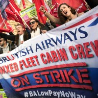 Striking British Airways cabin crew lobby Parliament in a Unite dispute over low pay, Westminster, London.