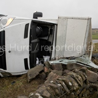 Storm Doris overturns high sided vehicles on a high pass nr Flash in the Peak District National Park, Staffordshire.