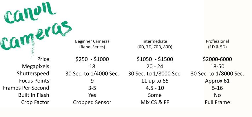 Jess Carrier's 2016 Canon Comparison