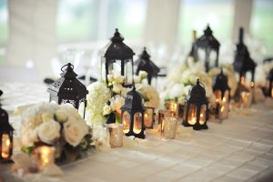 Black and Gold Tent Wedding with Lanterns and White Hydrangeas - Image by: Meredith Rogers Photography | http://jessicadum.com/portfolio/hannah-terrence/