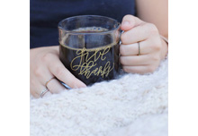 Give Thanks Glass Coffee Mug by Rachel Allene | Jessica Dum Wedding Coordination November Favorites