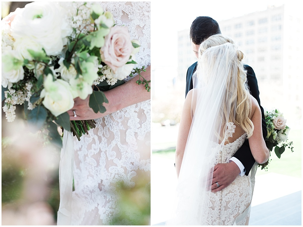 Back of lace wedding dress and blush bridal bouquet | Downtown Indianapolis Wedding by Gabrielle Cheikh Photography & Jessica Dum Wedding Coordination