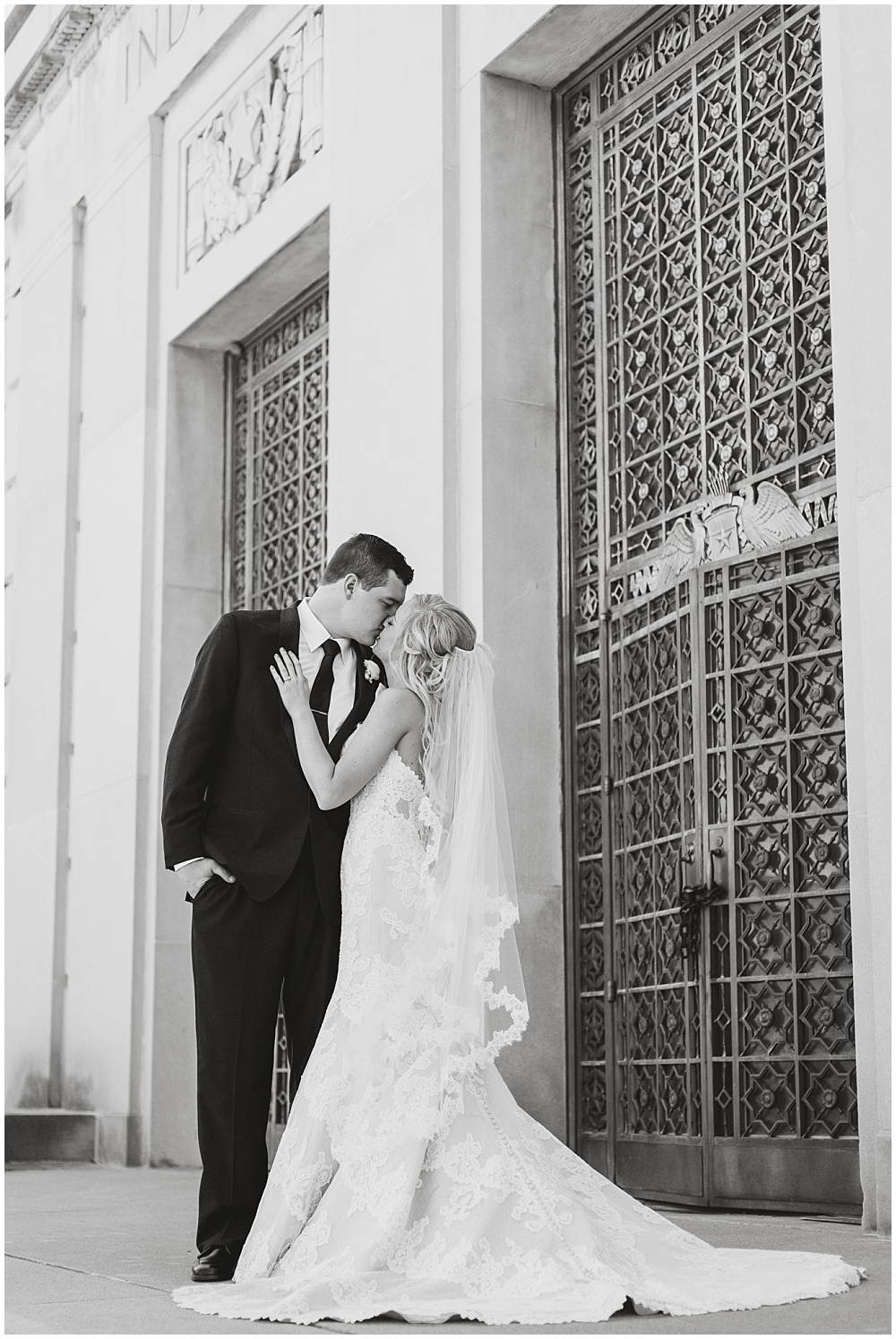 Bride and Groom outdoor black and white portrait | Downtown Indianapolis Wedding by Gabrielle Cheikh Photography & Jessica Dum Wedding Coordination