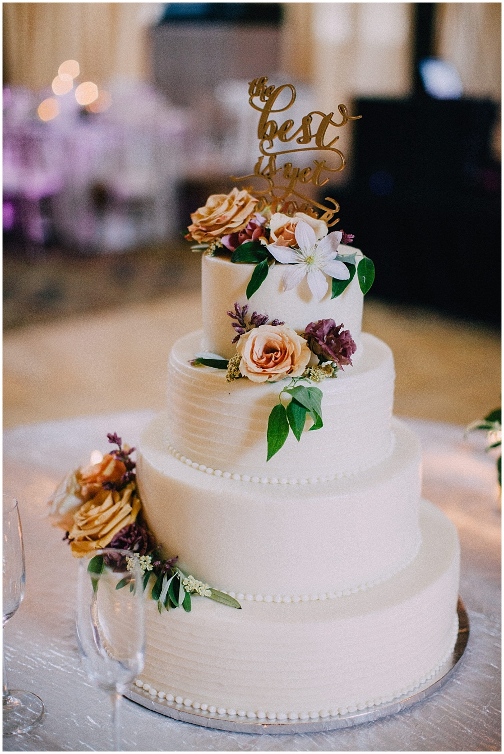 Gold 'The Best is Yet to Come' cake topper | Downtown Indianapolis Wedding by Caroline Grace Photography & Jessica Dum Wedding Coordination