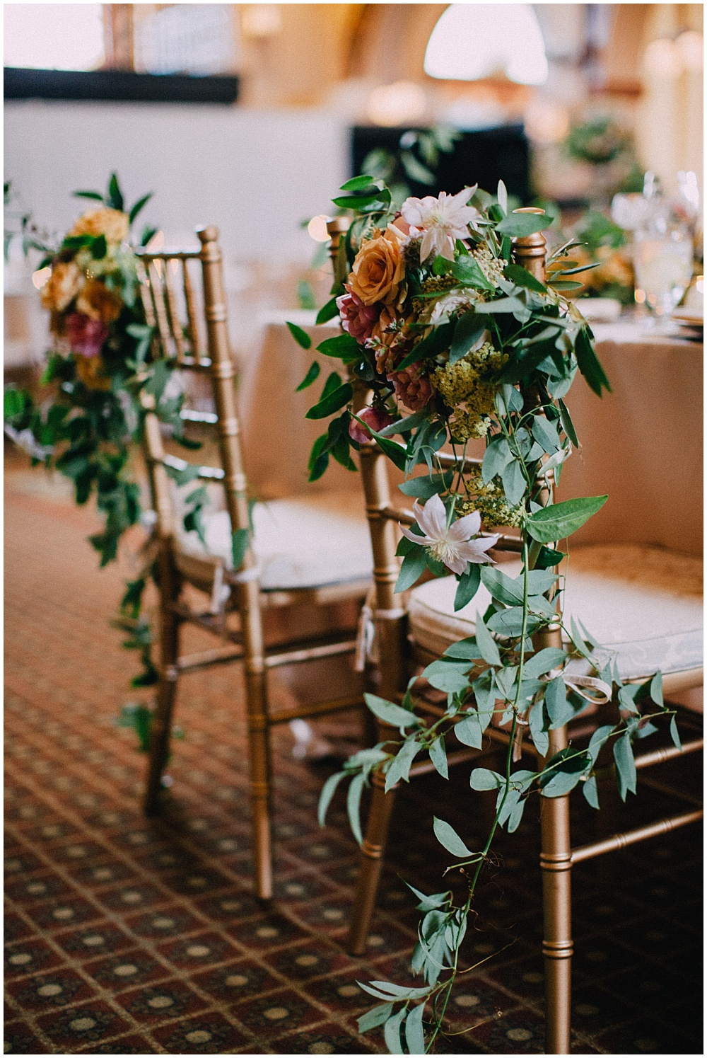 Bride and Groom wedding chair flowers | Downtown Indianapolis Wedding by Caroline Grace Photography & Jessica Dum Wedding Coordination