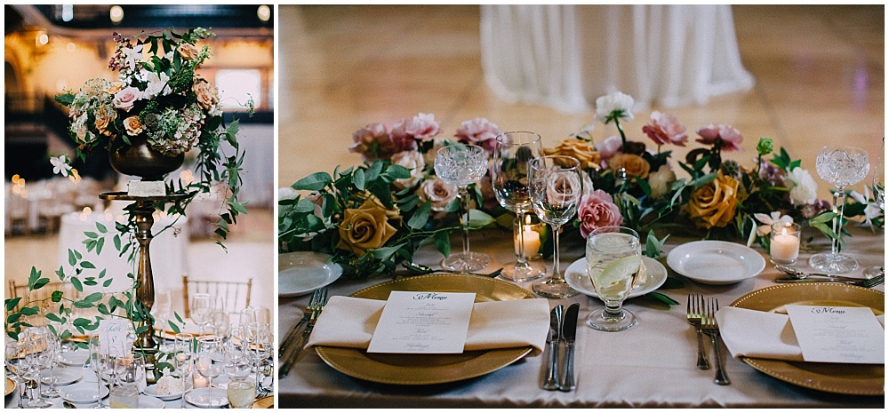 Wedding tablescape with gold accents and summer wedding flowers | Downtown Indianapolis Wedding by Caroline Grace Photography & Jessica Dum Wedding Coordination