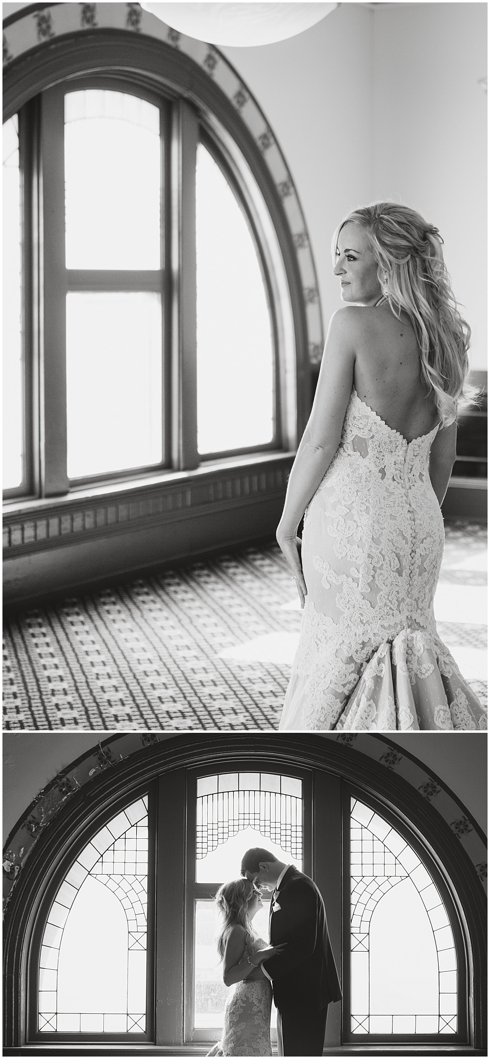 Black and white bride and groom portraits | Downtown Indianapolis Wedding by Gabrielle Cheikh Photography & Jessica Dum Wedding Coordination