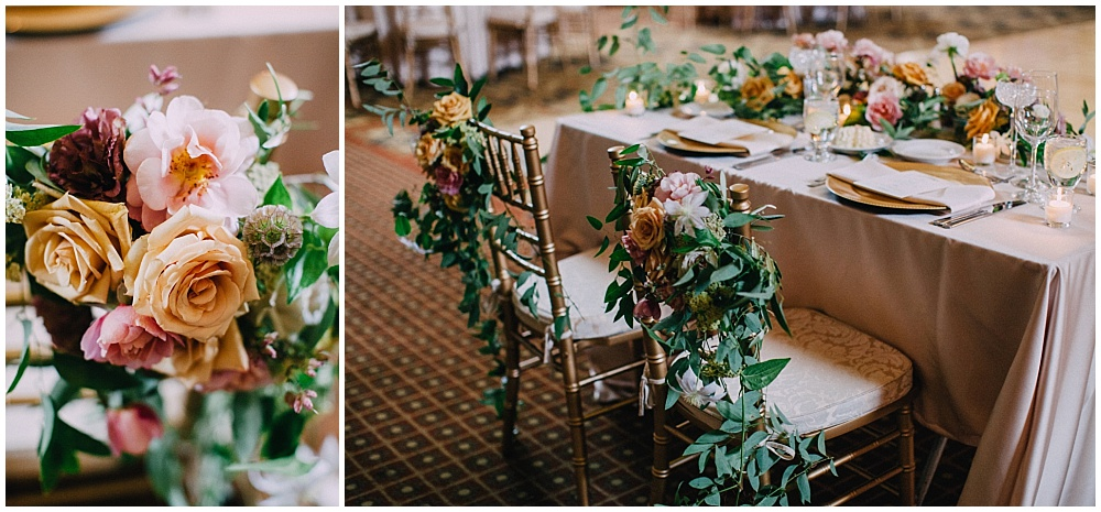 Bride and Groom sweetheart table with summer wedding flowers and chair florals | Downtown Indianapolis Wedding by Caroline Grace Photography & Jessica Dum Wedding Coordination