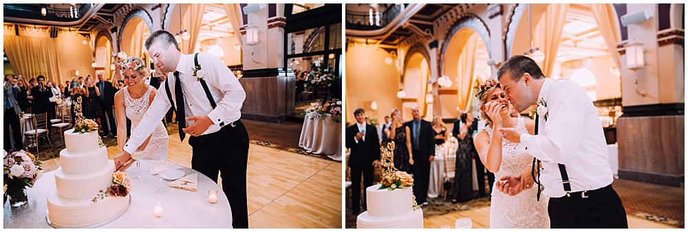 Bride and Groom cake cutting | Downtown Indianapolis Wedding by Caroline Grace Photography & Jessica Dum Wedding Coordination