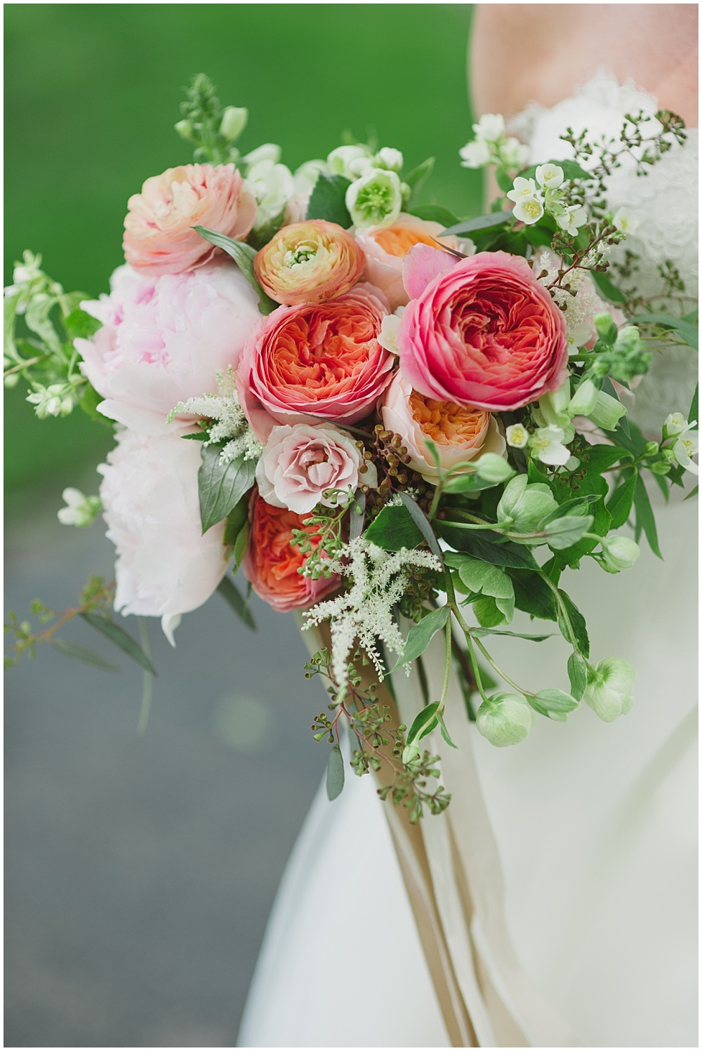 Blush, pink and green bridal bouquet with silk ribbon | Ritz Charles Garden Pavilion Wedding by Stacy Able Photography & Jessica Dum Wedding Coordination