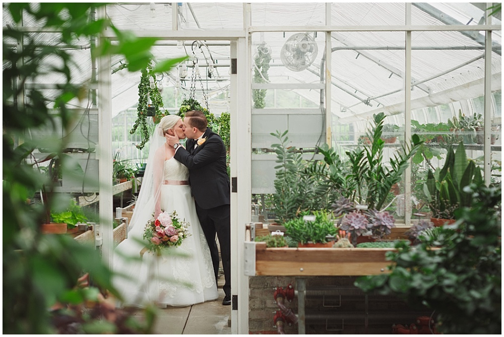 Bride and Groom greenhouse portraits | Ritz Charles Garden Pavilion Wedding by Stacy Able Photography & Jessica Dum Wedding Coordination