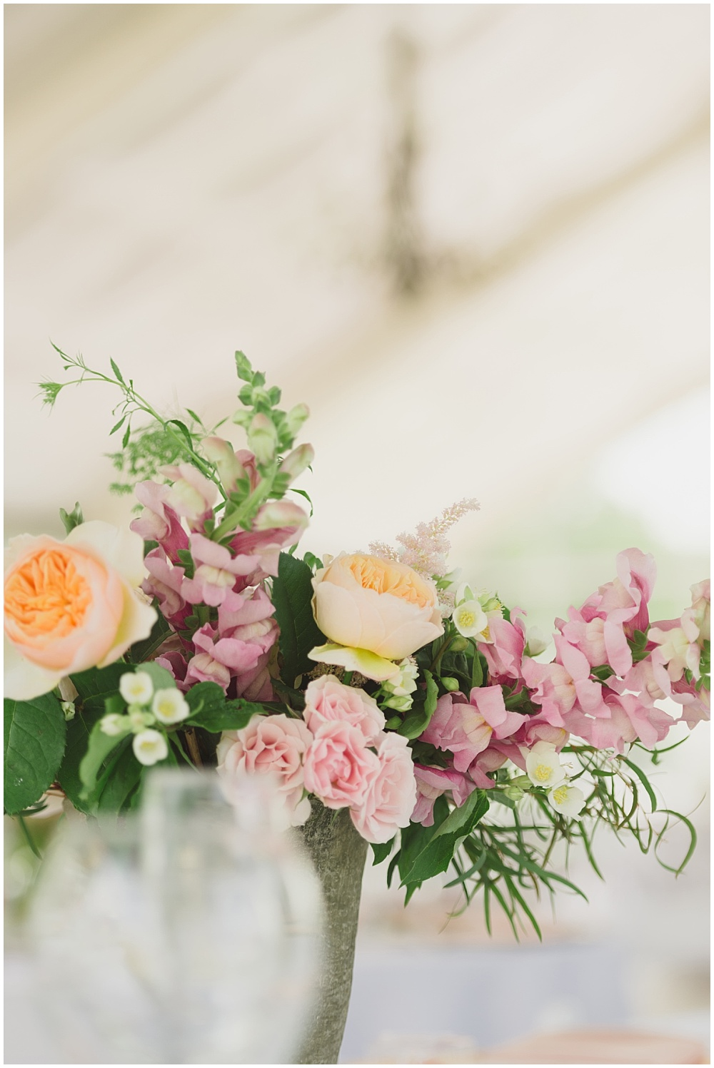 Spring floral centerpieces by Meg Catherine Flowers | Ritz Charles Garden Pavilion Wedding by Stacy Able Photography & Jessica Dum Wedding Coordination