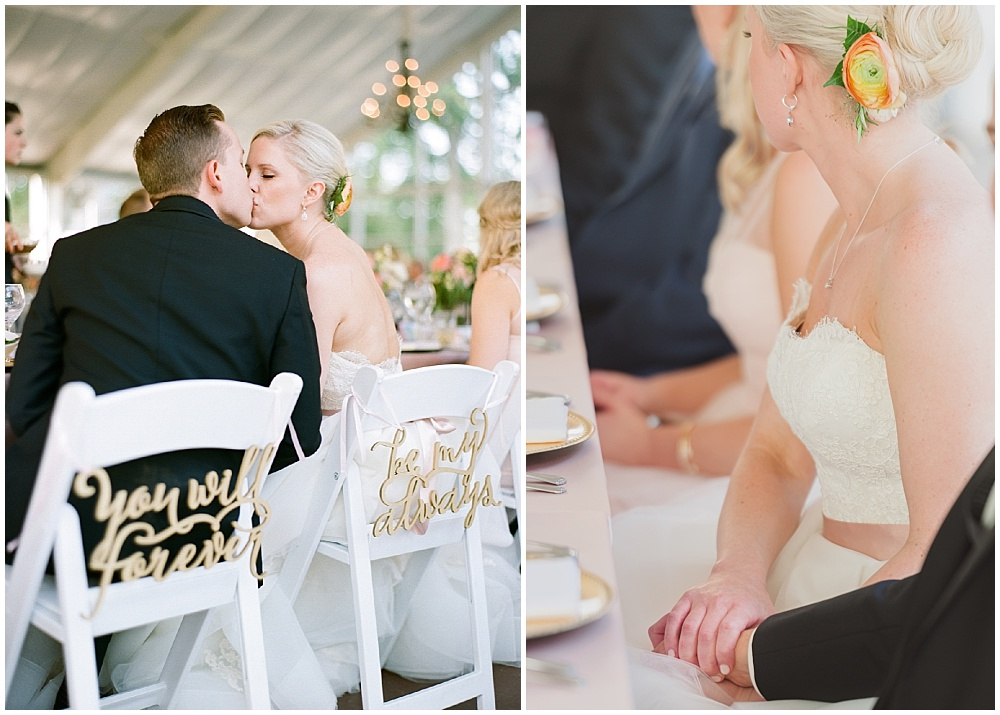Gold hand lettered chair signs   Ritz Charles Garden Pavilion Wedding by Stacy Able Photography & Jessica Dum Wedding Coordination