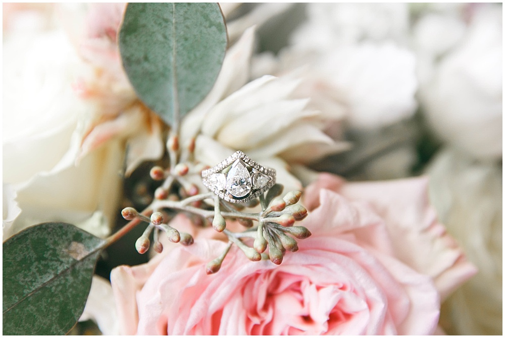 Wedding ring shot with blush bridal bouquet | Family Farm wedding by SB Childs Photography & Jessica Dum Wedding Coordination