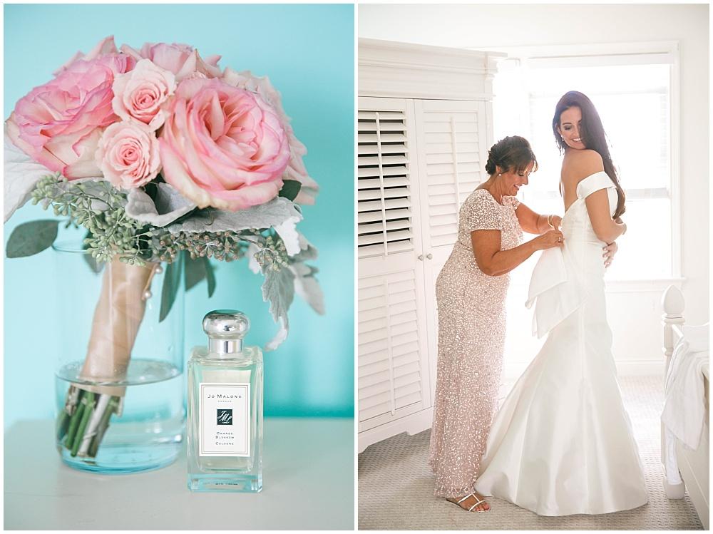 Bride getting into wedding dress | Family Farm wedding by SB Childs Photography & Jessica Dum Wedding Coordination
