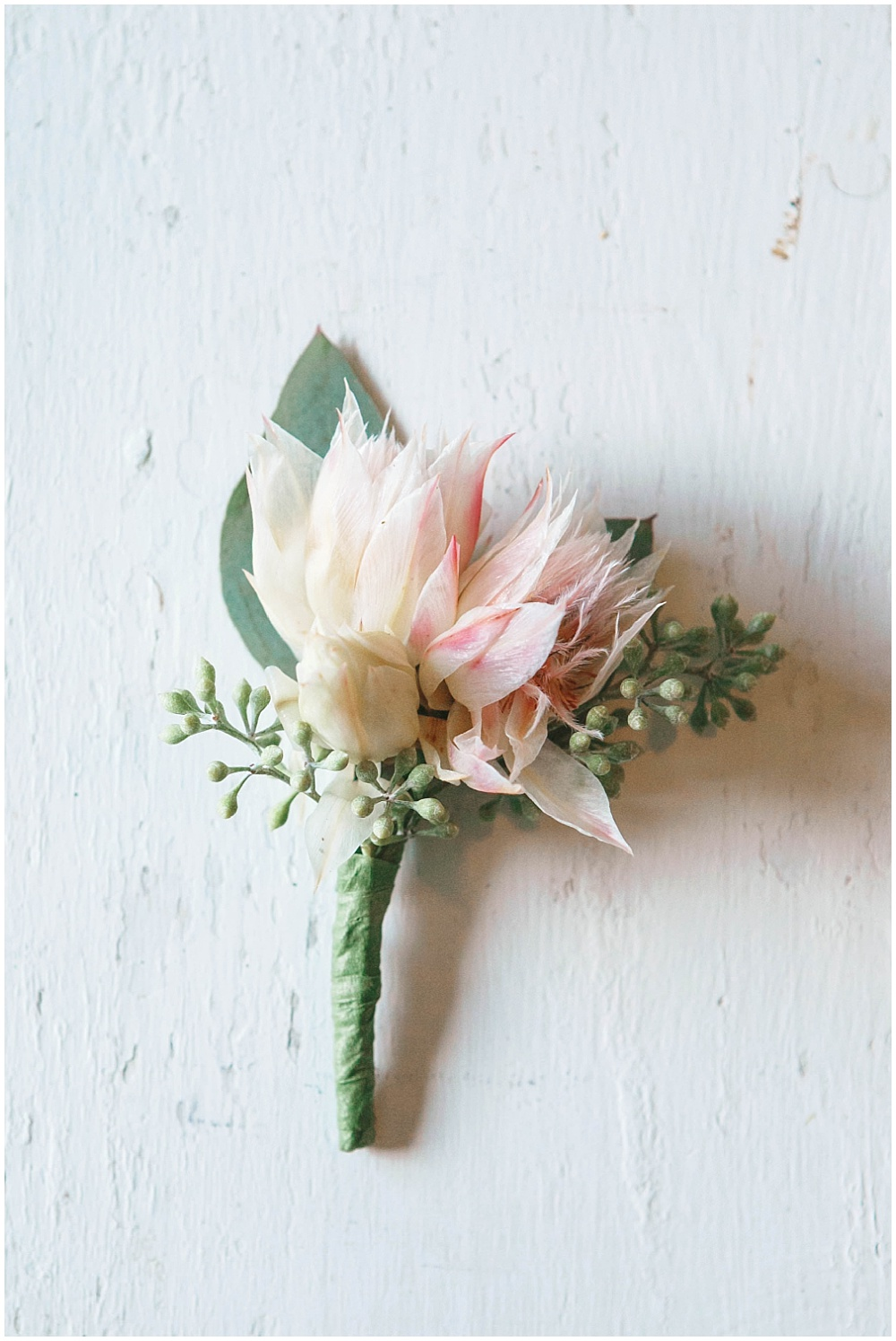 Blush and green groom's boutonniere | Family Farm wedding by SB Childs Photography & Jessica Dum Wedding Coordination