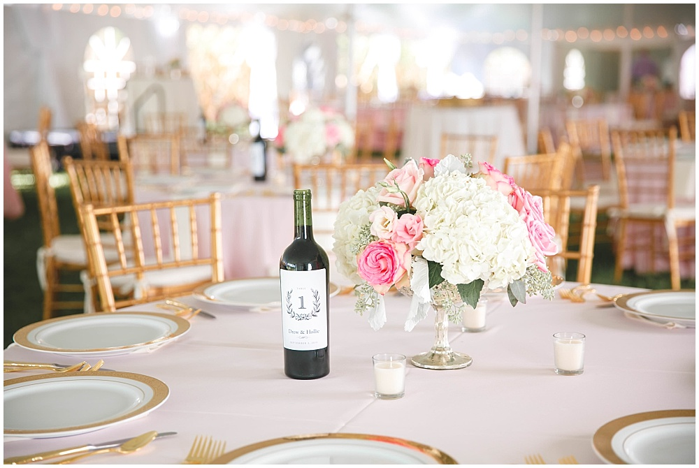Blush and gold wedding tablescape with wine bottle table numbers | Family Farm wedding by SB Childs Photography & Jessica Dum Wedding Coordination