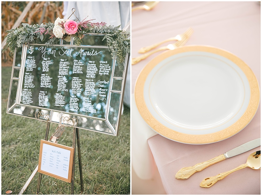 Hand lettered mirror seating chart | Family Farm wedding by SB Childs Photography & Jessica Dum Wedding Coordination