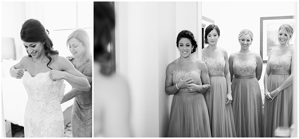 Bride getting stepping into her Monique Lhuillier lace wedding dress | D'Amore Wedding by Ivan & Louise Images & Jessica Dum Wedding Coordination