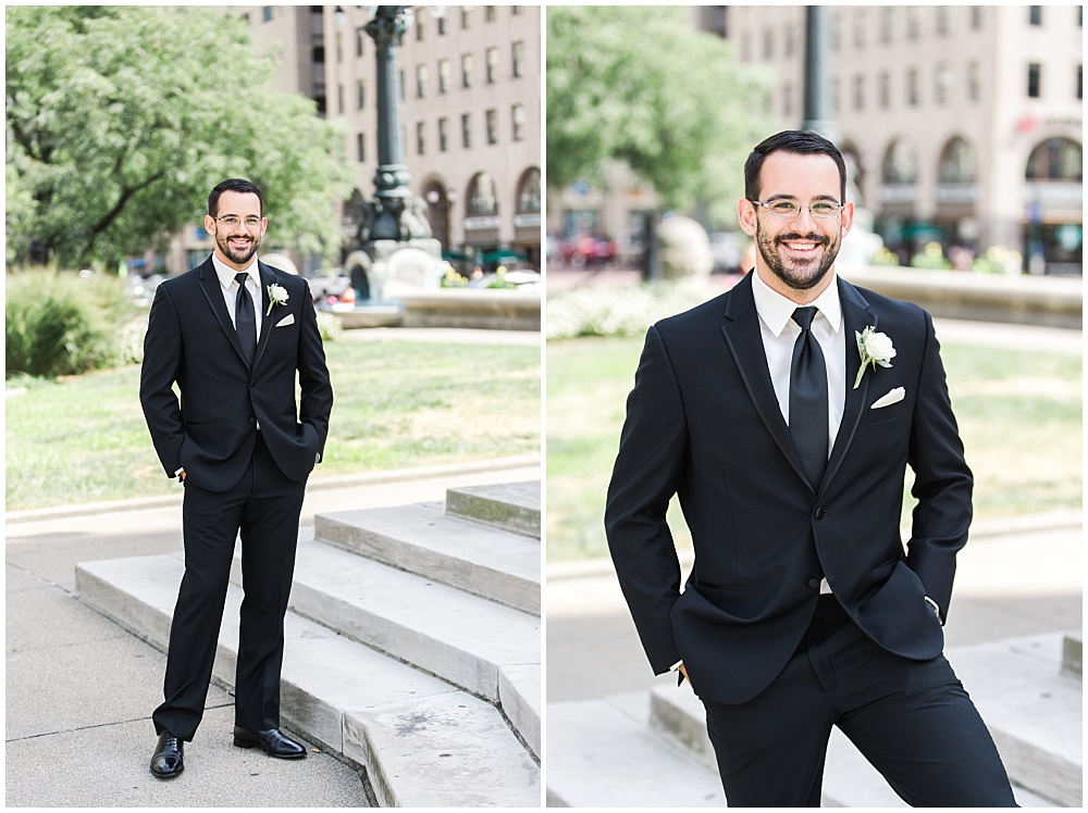 Groom with a black on black Macy's suit and white boutonniere | D'Amore Wedding by Ivan & Louise Images & Jessica Dum Wedding Coordination