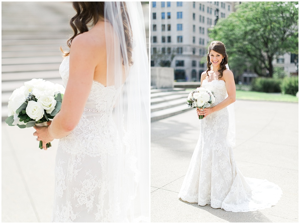 Monique Lhuillier lace strappless wedding dress with simple white and green bridal bouquet | D'Amore Wedding by Ivan & Louise Images & Jessica Dum Wedding Coordination