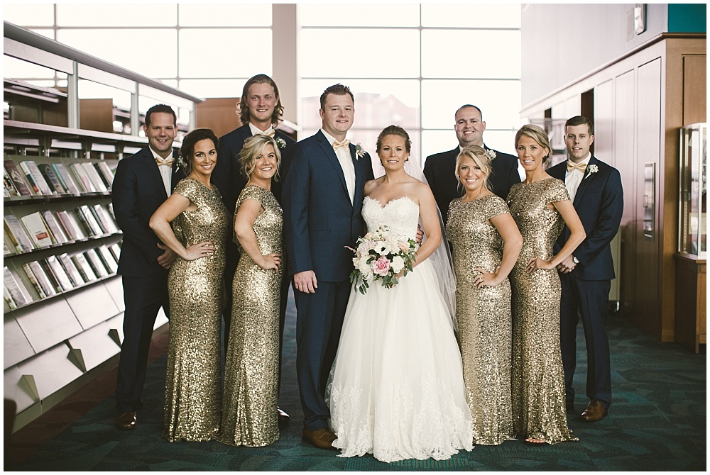 Navy, blush and gold bridal party | Indianapolis Central Library Wedding by Jennifer Van Elk Photography & Jessica Dum Wedding Coordination
