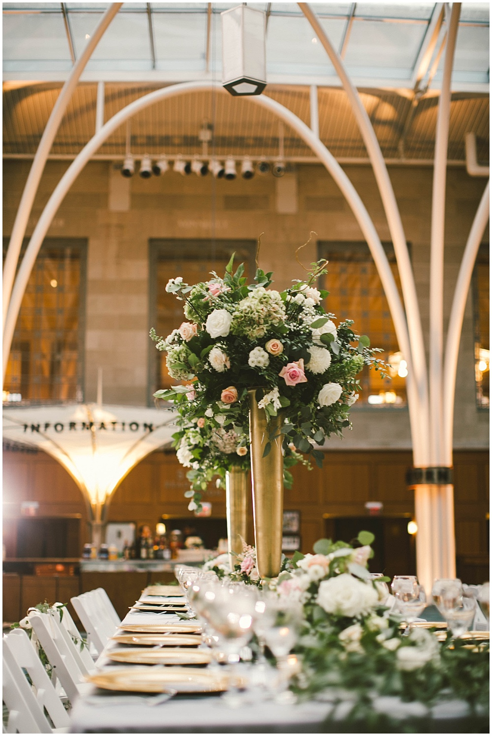 Blush, white and gold library wedding | Indianapolis Central Library Wedding by Jennifer Van Elk Photography & Jessica Dum Wedding Coordination