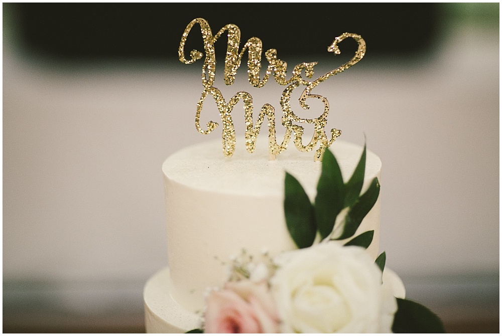 Gold Mr. and Mrs. Cake Topper | Indianapolis Central Library Wedding by Jennifer Van Elk Photography & Jessica Dum Wedding Coordination