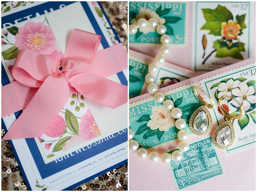 Pink and navy wedding invitation suite with feminine stamps | Mustard Seed Gardens Wedding by Sara Ackermann Photography & Jessica Dum Wedding Coordination