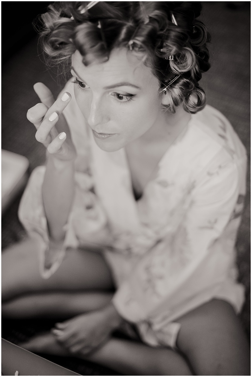 Bride getting ready in her robe | Mustard Seed Gardens Wedding by Sara Ackermann Photography & Jessica Dum Wedding Coordination