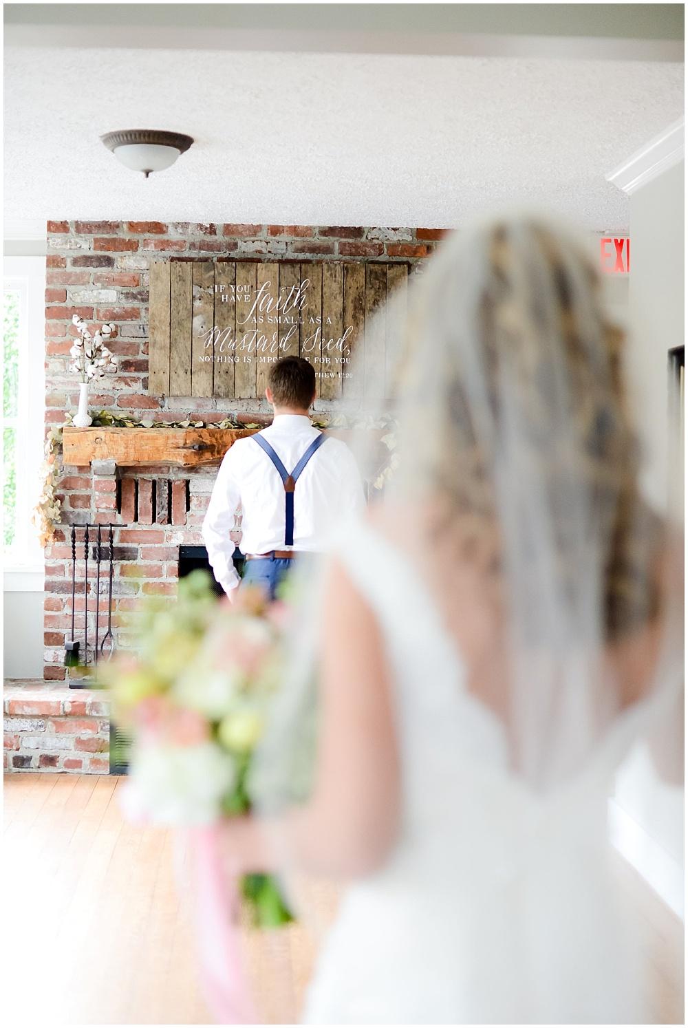 Bride and Groom first look | Mustard Seed Gardens Wedding by Sara Ackermann Photography & Jessica Dum Wedding Coordination