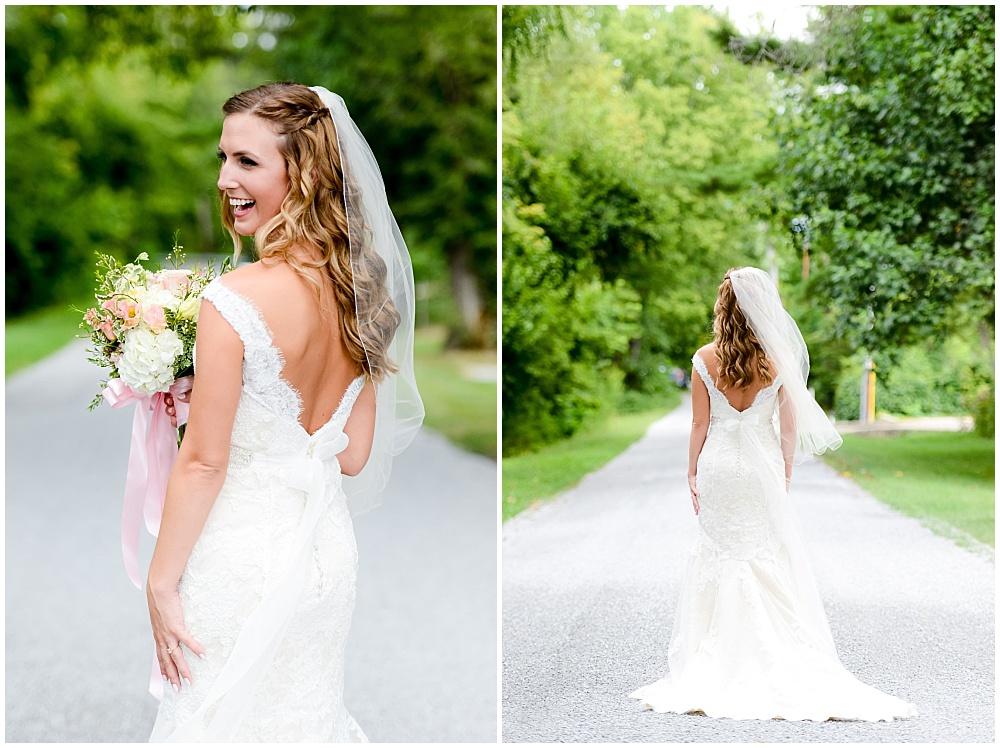 Back of lace wedding dress | Mustard Seed Gardens Wedding by Sara Ackermann Photography & Jessica Dum Wedding Coordination